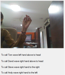 Skype Calling Through Kinect Gesture Recognition
