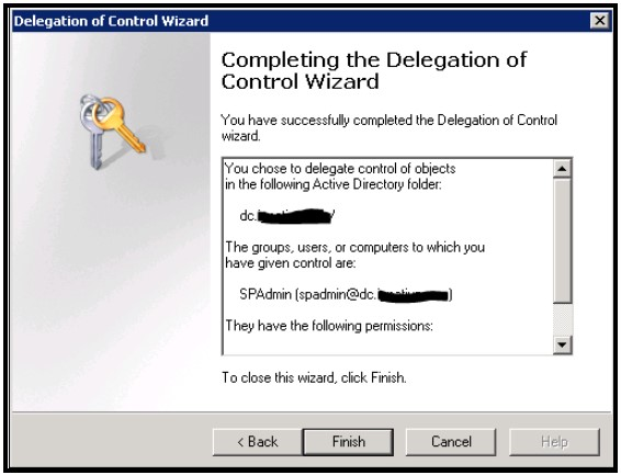 Completing the Delegation of Control wizard